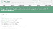 """LUMSA - Gruppo di ricerca su """"Fragilità, adattamento, neotenia: prospettive di lavoro sociale al tempo del coronavirus"""""""