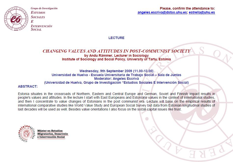 9 Septiembre de 2009 - LECTURE CHANGING VALUES AND ATTITUDES IN POST-COMMUNIST SOCIETY